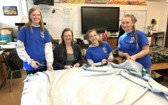 The National Honor Society hand makes blankets for Safe Berks